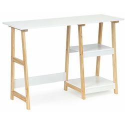 Modernhome Biurko, stolik do pokoju, dwie półki, białe, 110 cm (5903769971862)