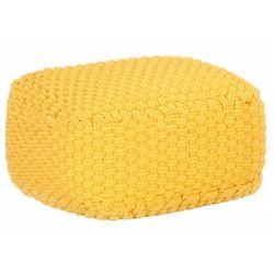 Żółta kwadratowa pufa bawełniana - Momo, kolor żółty