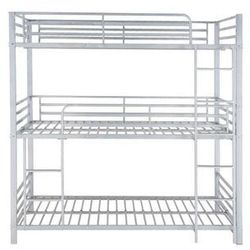 Łóżko piętrowe ELOUAN - 3 × 90 × 190 cm - Szary
