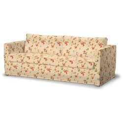 Dekoria Pokrowiec na sofę Karlstad 3-osobową nierozkładaną, długi, kwiatki na kremowym tle, Sofa Karlstad 3-osobowa, Londres