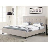 Nowoczesne łóżko tapicerowane ze stelażem 140x200 cm beżowe AMBASSADOR