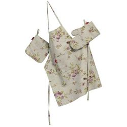 Dekoria Komplet kuchenny fartuch,rękawica i łapacz, różowo-fioletowe kwiaty na lnianym tle, kpl, Londres - sprawdź w wybranym sklepie