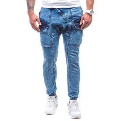 Błękitne spodnie jeansowe baggy męskie Denley 191 - BŁĘKITNY, kolor niebieski