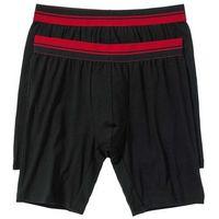Długie bokserki (2 pary)  czarno-ciemnoczerwony marki Bonprix