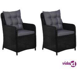 vidaXL Krzesła ogrodowe z poduszkami, 2 szt., polirattan, czarne (8718475607649)