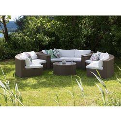 Meble ogrodowe jasnobrązowe rattanowe - półokrągła sofa + stół - SEVERO (7105276035657)