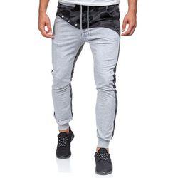 Szare spodnie dresowe joggery męskie Denley 0436 - SZARY, ATHLETIC