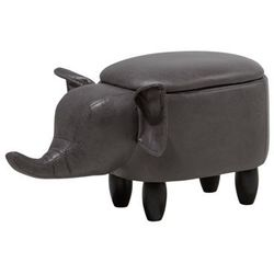 Pufa imitacja skóry ciemnoszara ELEPHANT, kolor szary