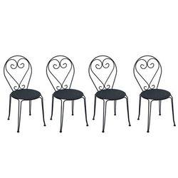 Vente-unique Zestaw 4 krzeseł ogrodowych guermantes z kutego żelaza – kolor antracytowy