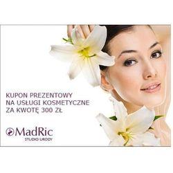 kupon prezentowy na usługi kosmetyczne za kwotę 300 zł., marki Madric