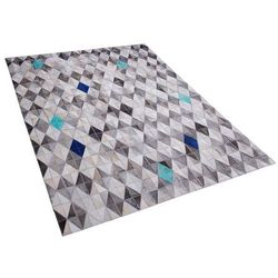 Dywan skórzany szaro-niebieski 140 x 200 cm TERIMLI