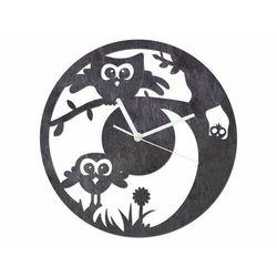 Drewniany zegar na ścianę sówka z białymi wskazówkami marki Congee.pl