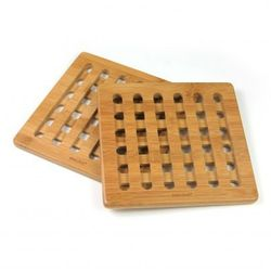 Kinghoff Zestaw kwadratowych podstawek z bambusa 20cm [kh-1216]