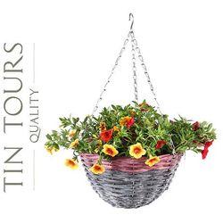 Zwis wiklinowy / kosz wiszący na kwiaty 30x30x16/54 cm marki Tin tours sp.z o.o.