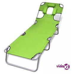 Vidaxl składany leżak z podgłówkiem, malowana stal, zielony (8718475910480)
