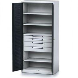 Szafa warsztatowa mechanic, 1950 x 920 x 500 mm, 4 półki, 4 szuflady, antracytowe drzwi marki B2b partner