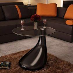 Czarny stolik kawowy z okrągłym, szklanym blatem, wysoki połysk