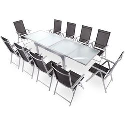 Meble ogrodowe aluminiowe Orlando Basic Silver / Black 10+1 (5902425326411)