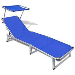 Vidaxl leżak z aluminiową ramą oraz niebieskim materiałem