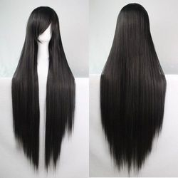 Sammydress 100cm long glossy straight side bang harajuku anime synthetic cosplay wig