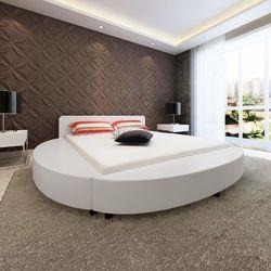 vidaXL Rama łóżka ze sztucznej skóry, 180x200 cm, okrągła, biała, kolor biały