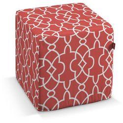 Dekoria Pufa kostka, czerwony w biały marokański wzór, 40 × 40 × 40 cm, Gardenia