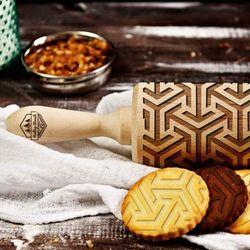 Mygiftdna Geometric - grawerowany wałek do ciasta - geometric - 44cm grawerowany wałek do ciasta