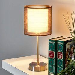 Lampenwelt.com Lampka nocna nica z brązowym materiałowym abażurem (4251096515978)