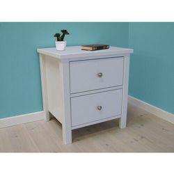 Stolik nocny SANDRINE – 2 szuflady – drewno sosny w kolorze białym
