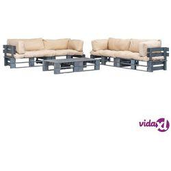 Vidaxl ogrodowe meble z palet, 6 szt., drewno fsc + piaskowe poduszki