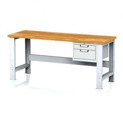 B2b partner Stół warsztatowy mechanic, 2000x700x700-1055 mm, nogi regulowane, 1x szufladowy kontener, 2 szuflady, szare