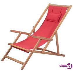 Vidaxl składany leżak plażowy, tkanina i drewniana rama, czerwony (8718475613718)