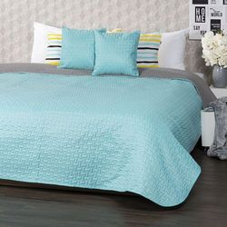 4Home Narzuta na łóżko Doubleface turkusowa/szara, 220 x 240 cm, 2 szt. 40 x 40 cm, 225570