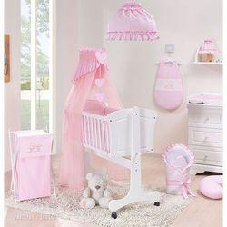 13-el kołyska + materac + pościel haftowana do kołyski 40x90 cm - pokoik różowy marki Mamo-tato