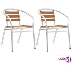 Vidaxl krzesła ogrodowe, sztaplowane, 2 szt., aluminium i wpc, srebrne (8718475714859)