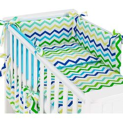 Mamo-tato dwustronna rozbieralna pościel 3-el zygzak niebiesko-zielony / niebieski do łóżeczka 60x120cm