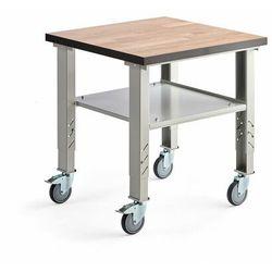 Aj produkty Stół roboczy solid, na kółkach, 500 kg, 800x800 mm, szary, dąb