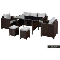 Selsey zestaw mebli ogrodowych boros sofa z dwoma fotelami, dwiema pufami i stołem ciemny brąz