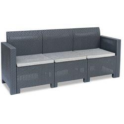 Trzyosobowa sofa ogrodowa technorattanowa nebraska 3 antracyt marki Bica