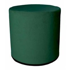 Ciemnozielona okrągła tapicerowana welurem pufa - Santia, kolor zielony