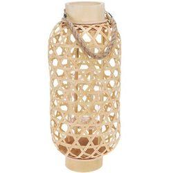Bambusowy lampion z uchwytem, świecznik dekoracyjny
