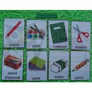 Przybory szkolne karty edukacyjne - wersja w j. angielskim
