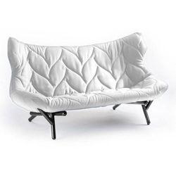 Sofa Foliage czarna rama biała wełna, kolor biały