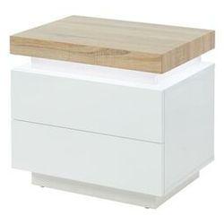 Stolik nocny HALO II - 2 szuflady - lakierowane MDF - diody LED - Kolor: biały i dębowy.