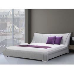 Nowoczesne łóżko tapicerowane ze stelażem 160x200 cm - NANTES szare (7081458602216)