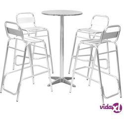 meble barowe z okrągłym stolikiem, 5 szt., srebrne, aluminium marki Vidaxl