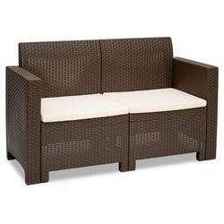 Dwuosobowa sofa technorattanowa nebraska 2 brązowa marki Bica