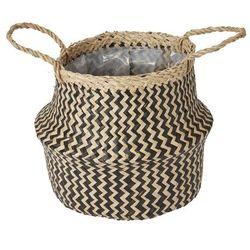 Goodhome Kosz doniczkowy z trawy morskiej 19 cm czarny (3663602442509)