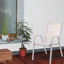 Krzesło ogrodowe metalowe beżowe na balkon marki Springos