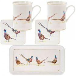 Kpl. 2 kubków z podstawkami na tacy - pheasant